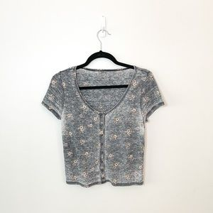 American Eagle Floral Button Up Waffle Crop Top M